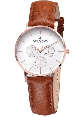 CHRONOX brown CHRONOX CX1006/B3 Putih Rosegold - Jam Tangan Wanita Casual -Tali Coklat Tua B Rosegold- Genuine Leather Strap 17D61ACE2E2D92GS_1