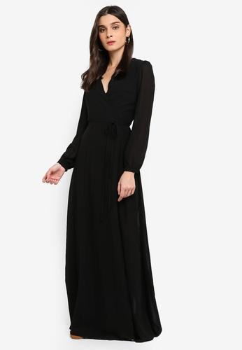 Glamorous black Tie Waist Wrap Maxi Dress 5EAF5AADDD4D77GS_1
