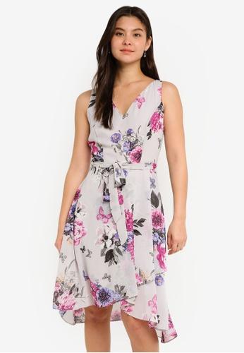 Dorothy Perkins grey Grey Floral Midi Dress 7812FAAB48E467GS_1