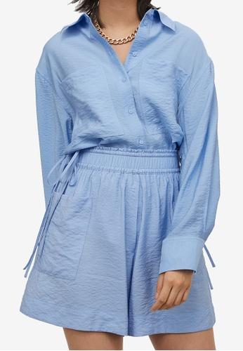 H&M blue Paper Bag Shorts 4AB32AAC1138C4GS_1