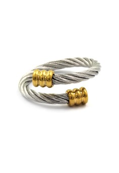 Silver Twisted Cable Wire Ring Round Gold End