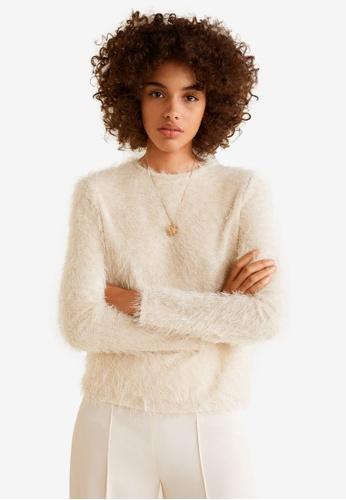 Mango beige Faux Fur Knit Sweater A9292AA679C0C3GS_1