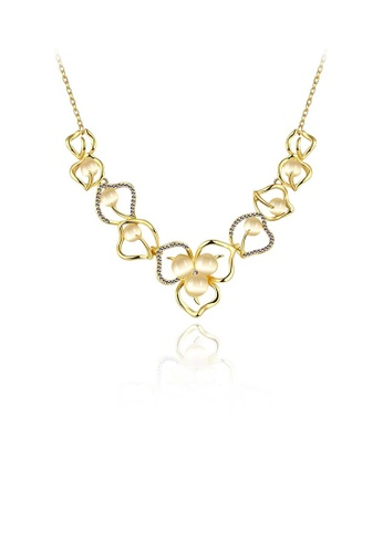Glamorousky white Elegant Flower Necklace with Opal and Austrian Element Crystal 64B32AC8B83EBBGS_1