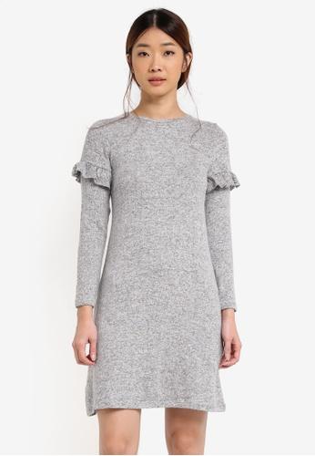 Dorothy Perkins grey Petite Grey Frill Sleeve Dress DO816AA0T05HMY_1