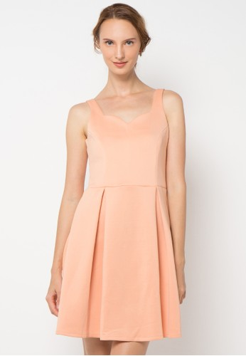 ECLAT APPAREL pink Flared Dress EC565AA73AFYID_1