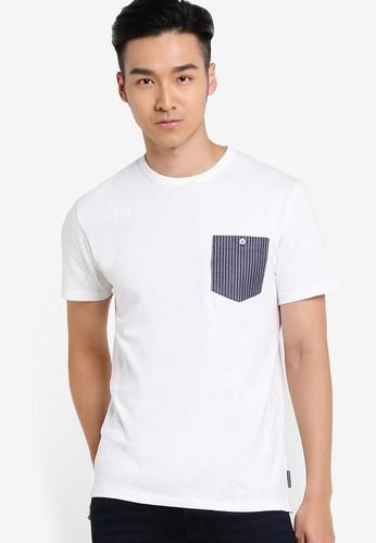 esprit outlet 台中對比色胸前口袋短袖TEE, 服飾, 服飾