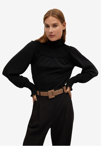 Mango black Stretch Knit Blouse 95A55AAB48CF27GS_1