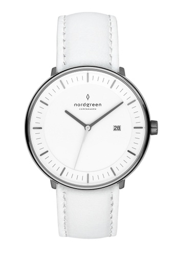 Nordgreen grey and white Nordgreen Philosopher Gun Metal 36 mm - Nordic White Leather Watch 9B7FEAC5A2BD19GS_1