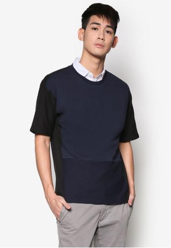 棉質拼接短袖TEE, esprit 香港服飾, 素色T恤