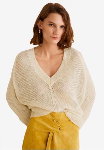 Mango beige V-Neckline Oversize Sweater CD24FAAFAA4DCDGS_1