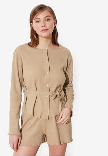 Trendyol 褐色 鈕釦 Down 睡衣組 8522BAAF589891GS_1