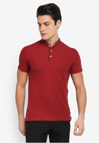 G2000 red Woven Stand Collar Polo Shirt 6CB43AA0E9F360GS_1
