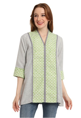 bhatara batik green and grey BIANCA BLOUSE 68D56AA5EE8D31GS_1