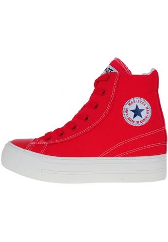 Maxstar 紅色 新款韩国鞋C2時尚帆布布混合女紅色 US Women Size MA345SH10HEJTW_1