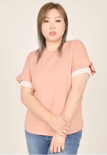 Cheetah pink Arissa Plus Size Ruffle Short Sleeve Top - ARS-9650 B7FC8AA50BF88BGS_1