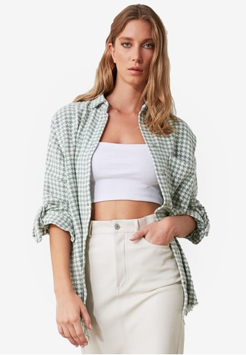 Trendyol green Houndstooth Shacket 373A5AA41A2BD6GS_1
