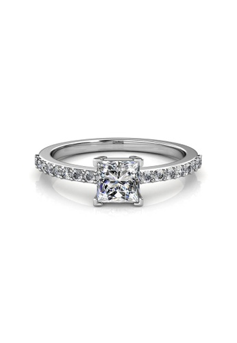 Her Jewellery silver Simple Square Ring -  Made with premium grade crystals from Austria HE581AC0RAKFMY_1