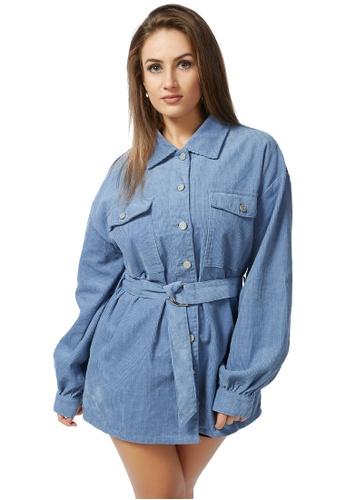 London Rag blue Blue Corduroy Buckle-Up Long Sleeve Shirt 1EB4DAAE93537FGS_1