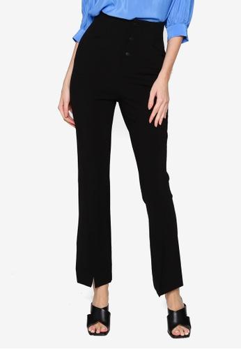 Hopeshow black Slim Fit Front Slit Long Pants 2976EAA1878546GS_1