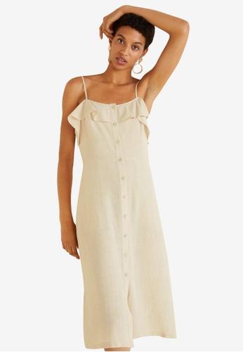 Mango brown Ruffled Linen Dress B048AAAA64FC4CGS_1