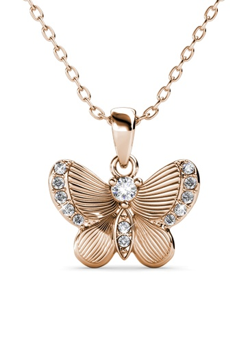 Her Jewellery gold Chrysalis Butterfly Pendant (Rose Gold) -  Embellished with Crystals from Swarovski® 8C6BFACC321D2BGS_1
