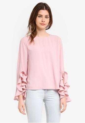 Zalia pink Frill Sleeve Top 6913FAA9C3483CGS_1