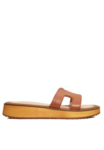 Twenty Eight Shoes 褐色 真皮厚底拖鞋 VS66610 EF232SHAF581D6GS_1