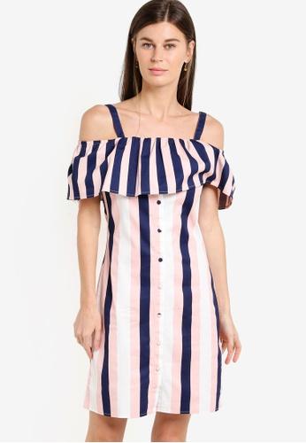 WAREHOUSE multi Stripe Ruffle Dress WA653AA46ECBMY_1