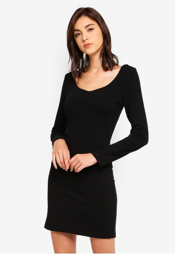 ef90bb5a821 Buy OVS Fitted Solid Colour Dress With Ribbing Online on ZALORA ...