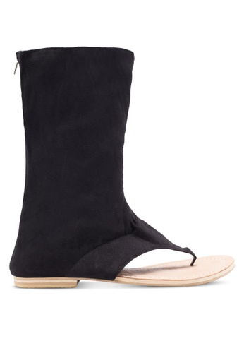 Sulima black Suede Sandal Boots SU915SH57VPMMY_1