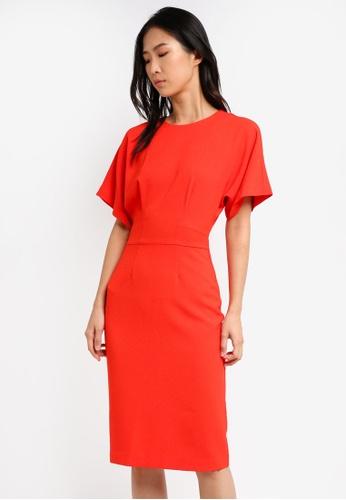 WAREHOUSE red Crepe Midi Dress WA653AA0SYJJMY_1