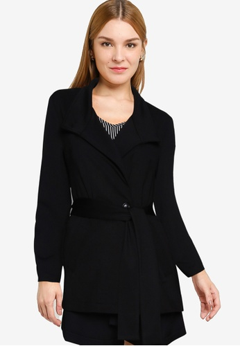 ZALORA WORK black Button Down Jacket With Sash 447B1AAAC5C0F5GS_1