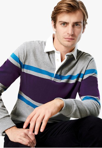 MARKS & SPENCER grey Chest Stripe Rugby Shirt 43787AAED8DF8EGS_1