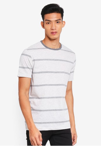 MANGO Man grey Striped Slub T-Shirt B7F56AACEF7B12GS_1