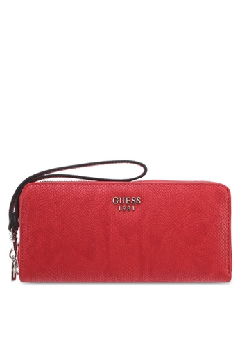 Guess red Keaton Large Zip Around Wallet 43C80ACC077E67GS_1