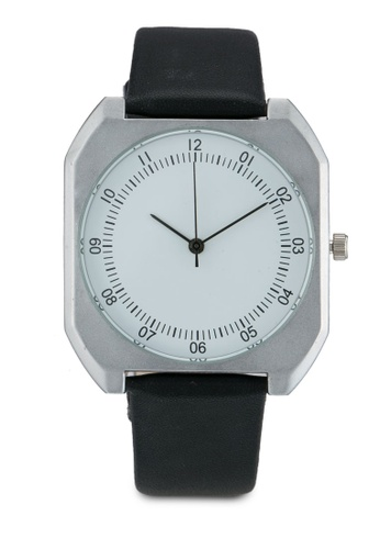 NUVEAU black Square Face Silver White/Black Strap Watch NU245AC0SBIQMY_1