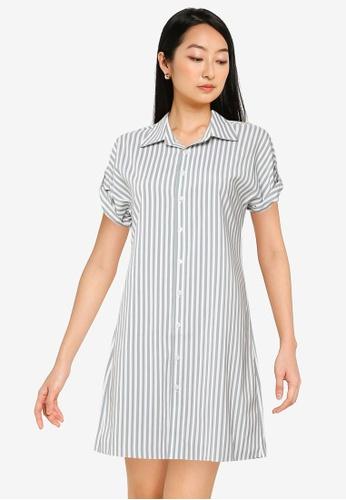 ZALORA BASICS green and multi Short Sleeve Shirt Dress A61A1AA99C0A97GS_1