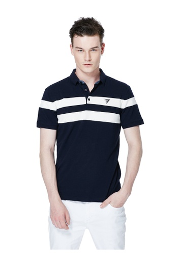 Guess blue Color Blocked Polo Shirt GU020AA0GUNVSG_1