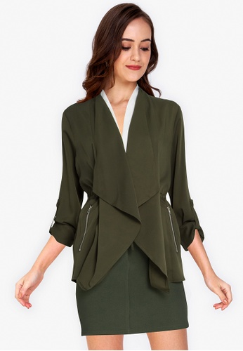 ZALORA WORK green Waterfall Rolled Up Sleeves Jacket 8EC96AACAD7B87GS_1