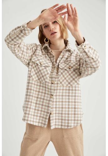 DeFacto brown Woman Woven Long Sleeve Shirt 70437AA9ED5F0FGS_1