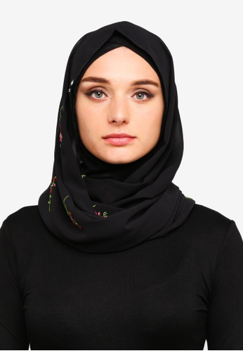 Zalia black and multi Embroidered Chiffon Snood 447ABAA131FA4FGS_1