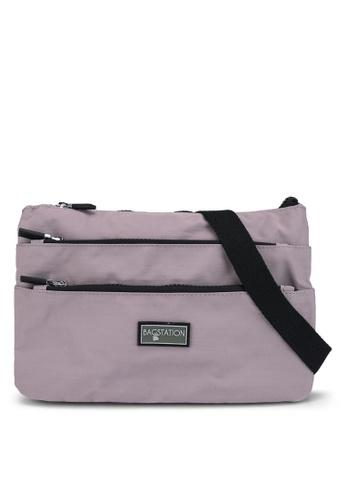 Bagstationz purple Contrast Zip Nylon Sling Bag 2ACC8ACC43CCFDGS_1