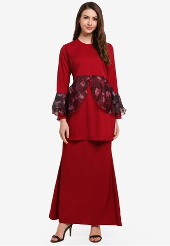 Gene Martino red Princess Sophia Kurung Modern 1EAE0AA12CA49BGS_1