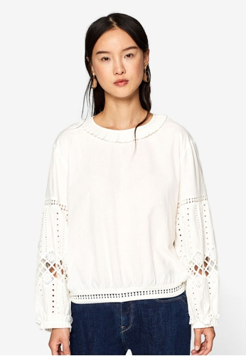 ESPRIT white Embroidered Balloon Blouse E0360AA884FE92GS_1