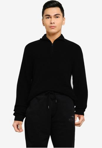 Hollister black Texture High Neck Sweater 07888AAFB37112GS_1