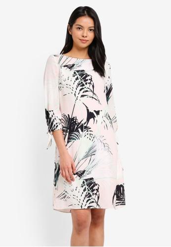 Wallis multi Monochrome Palm Print Tie Sleeve Shift Dress DA9D3AA474416CGS_1