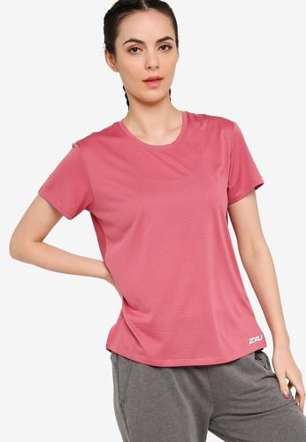 2XU pink Training SS Stripe Tee 901D6AAFD8837EGS_1