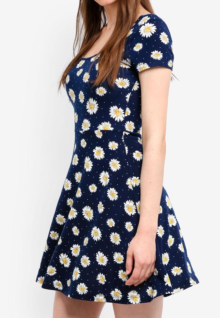 Based Navy Neck Scoop Floral Dress Skater Something Jersey Borrowed 0f1q77