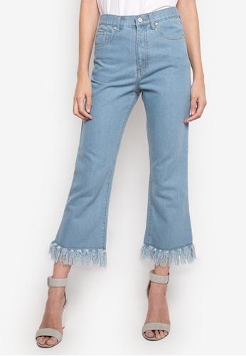 NEXT blue High Waist Fringed Jeans NE725AA14GDDPH_1