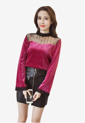 Lara red High neckline Long sleeves Slip on Blouse LA355AA0GHYMSG_1